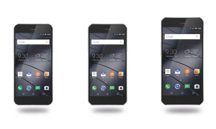 """Die drei Smartphone-Modelle """"GigasetME"""", """"GigasetME Pure"""" und """"GigasetME Pro"""""""
