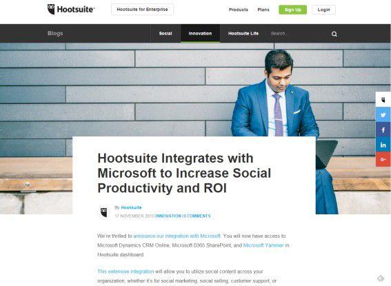 Blog-Ankündigung von Hootsuite zur Integration mit Microsoft.