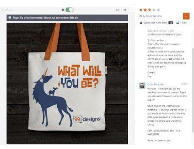 Im Feedback-Fenster von 99designs finden Sie das betreffende Design, ein Chatfenster und Infos zum Designer.