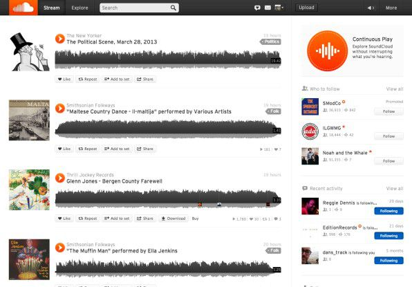 """Bei """"SoundCloud"""" handelt es sich um ein Soziales Netzwerk speziell für Musiker und Musikfans, das monatlich rund 175 Millionen Anwender weltweit zählt."""