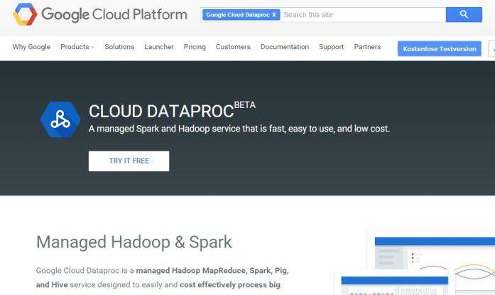Mit Google Dataproc sollen Unternehmen Hadoop- und Spark-Cluster in der Cloud einrichten können.