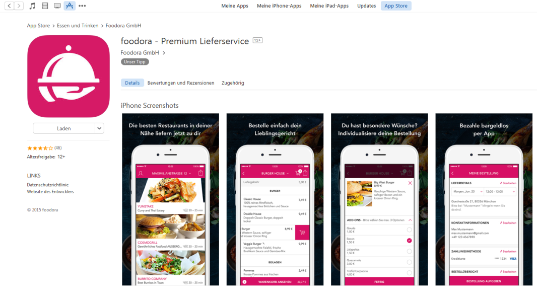 die besten apps spiele f r apples iphone 2015 platz 18 foodora. Black Bedroom Furniture Sets. Home Design Ideas