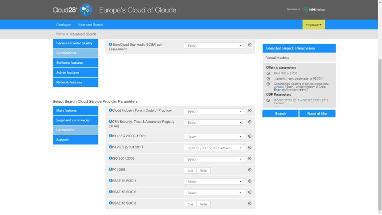 Nützlich: Cloud28+ lässt sich unter anderem nach Sicherheitskriterien filtern
