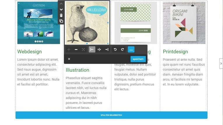 Bilder, Texte und Überschriften lassen sich mit dem Editor an der Layout-Struktur verschieben.