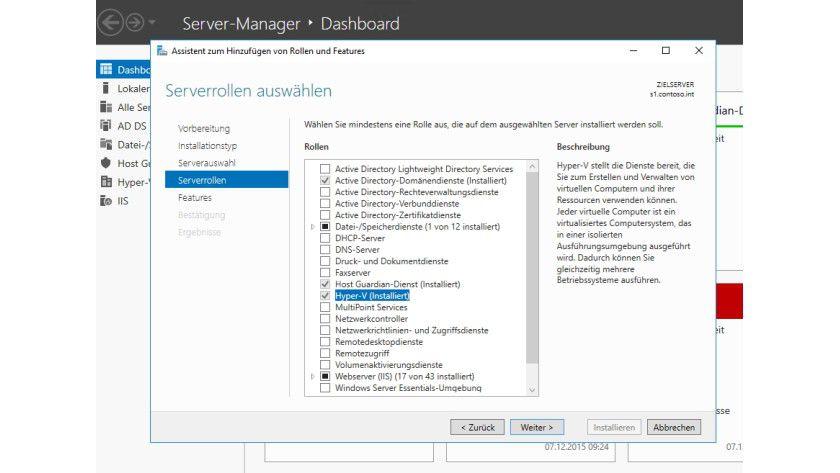 Hyper-V wird in Windows Server 2016 über den Server-Manager installiert. Dazu nutzen Sie den Assistenten, den Microsoft direkt in den Server-Manager integriert hat.