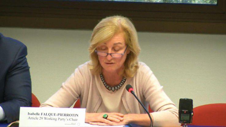 Europas Datenschützer, hier Chefin Isabelle Falque-Pierrotin, wollen bis April prüfen und fordern von der EU Unterlagen.