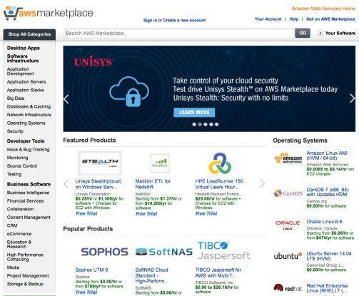 Über den Marketplace bietet AWS Applikationen und Systemsoftware aller Art an. Anwender können diese über die Amazon-Cloud nutzen.