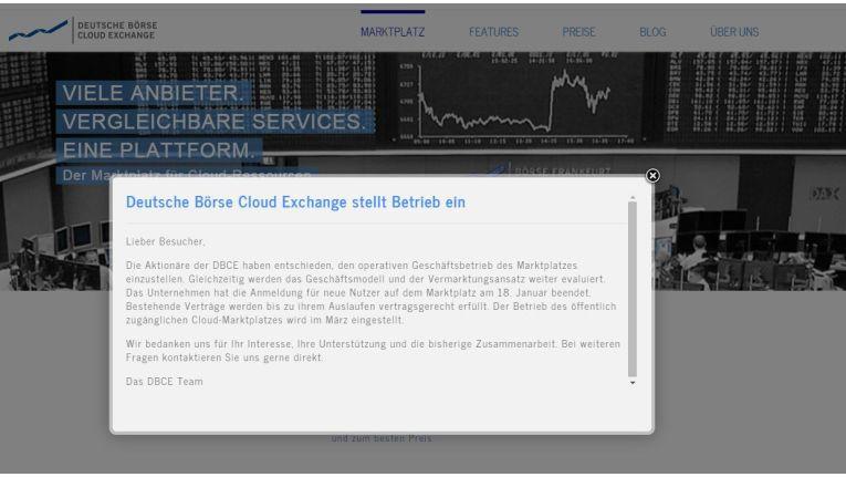 In einem knappen Statement kündigt die Deutsche Börse Cloud Exchange das Ende des Cloud-Marktplatzes ein.