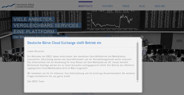 Cloud-Marktplatz stellt den Betrieb ein: Deutsche Börse Cloud Exchange gibt auf - Foto: DBCE