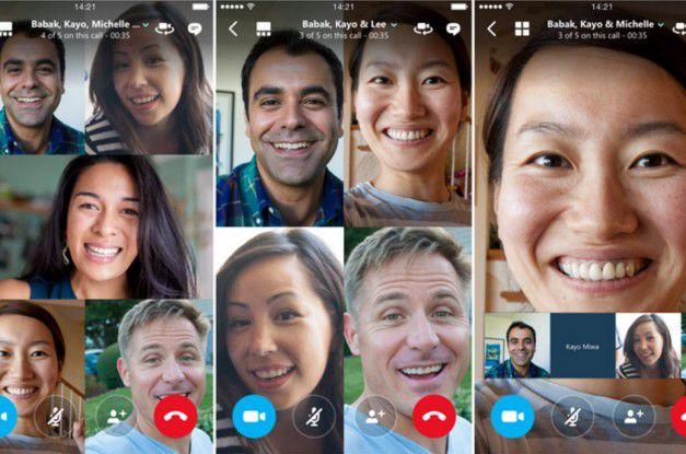 Bei wenigen Teilnehmern an einer Videokonferenz teilt sich der Bildschirm in ein Gitternetz (links und Mitte). Bei vielen wird der/die jeweils aktiv Sprechende groß eingeblendet (Default-Einstellung) oder die Nutzer bestimmen, wen sie dort sehen möchten.