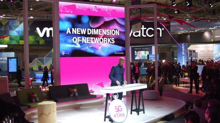 Telekom-Chef Tim Höttges erklärte auf dem MWC die Netzausbaupläne der Telekom.