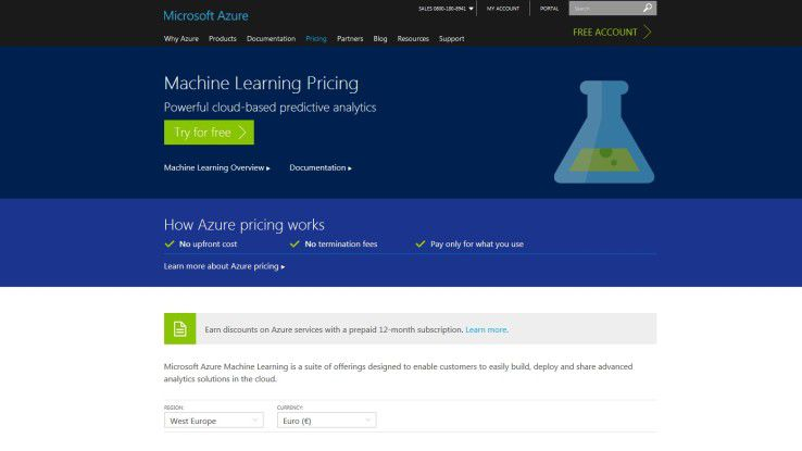 Website von Microsoft Azure ML Studio