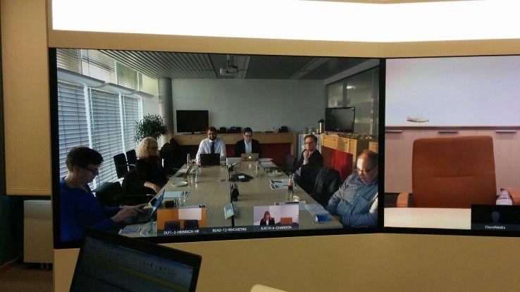 Teilnehmer der virtuellen Cisco-PK im Berliner Büro des Konzerns.