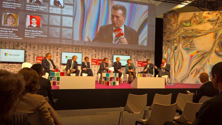 Podiumsdiskussion auf der CeBIT 2016 zum Thema Digitaler Binnenmarkt.