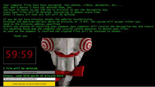 """Neuer Trend: Erpresserschreiben mit Countdown - wie hier bei der Ransomware """"Jigsaw""""."""