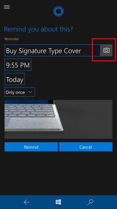 Cortana erinnert an Einkäufe.