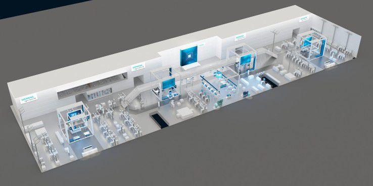 Auf 3.500 Quadratmetern zeigt Siemens auf seinem Messestand in Hannover praktische Beispiele rund um das Thema Digitalisierung.