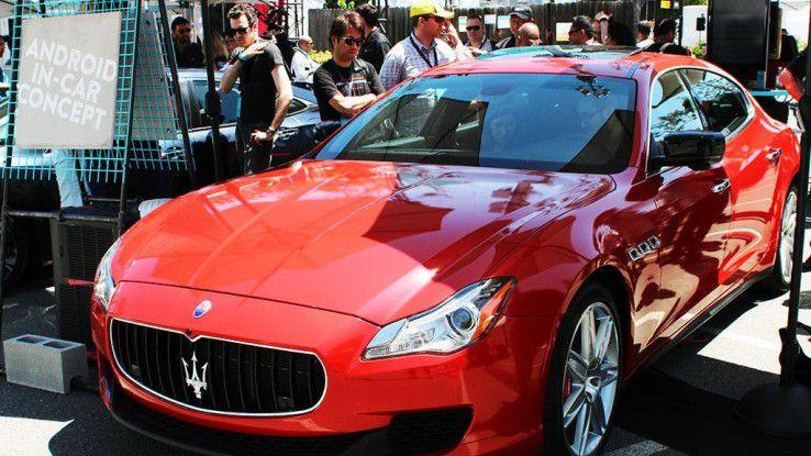 Google demonstrierte auf der I/O an einem umgerüsteten Maserati Ghibli, wie Android N und Android Auto künftig zusammenarbeiten können