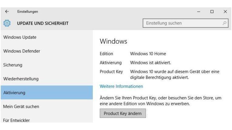 """""""Product Key ändern"""" heißt die entscheidende Schaltfläche, über die sich die Home-Variante von Windows 10 schnell in die Professionell-Version ändern lässt."""