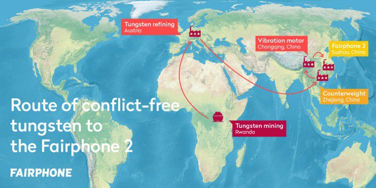 Die Route des konfliktfreien Wolfram bis zur Fairphone-2-Fertigung.