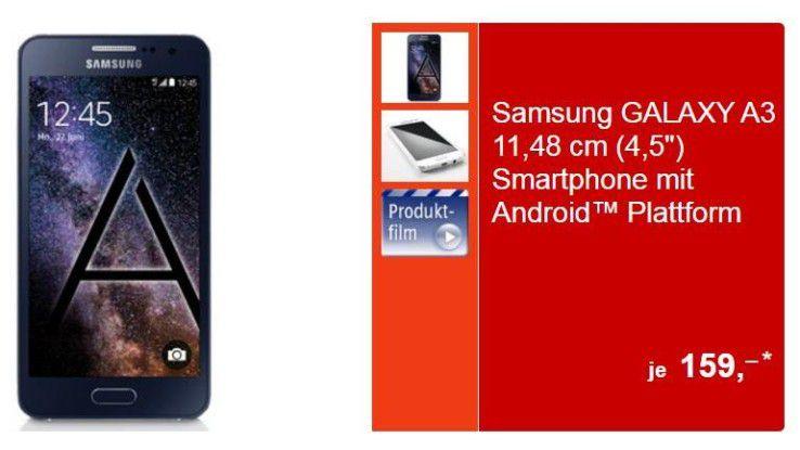 Aldi Süd bietet das Samsung Galaxy A3 für 159 Euro an.