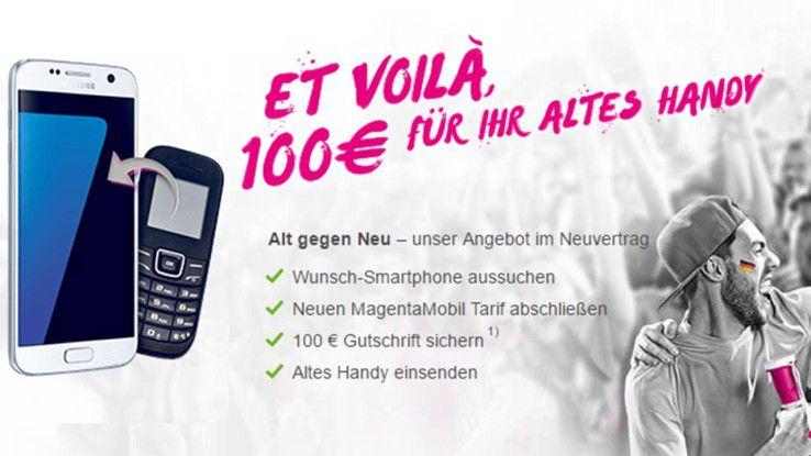 Bei der Telekom-Aktion Alt gegen Neu bekommen Neukunden 100 Euro für ihr (ein) altes Handy.