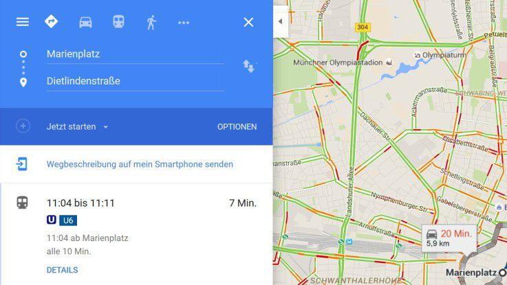 U-Bahn? Bus? Tram? Google Maps hilft bei der ÖPNV-Planung.