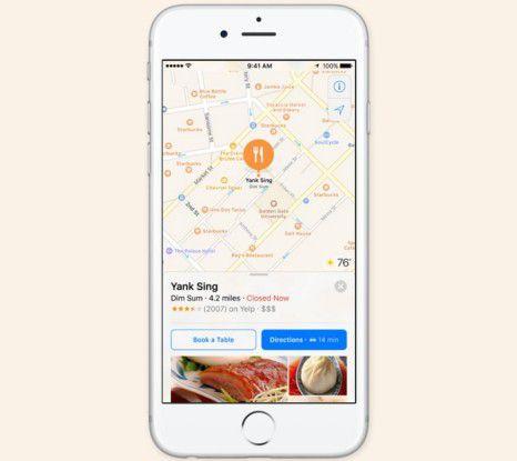 Entwickler erhalten mit iOS 10 zusätzlich die Möglichkeit, ihre App in den Kartendienst direkt zu integrieren.