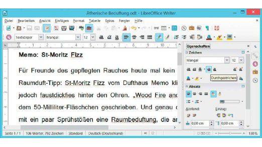 """Seitenleiste anzeigen: Beim Formatieren von Dokumenten erspart die schicke Seitenleiste in Libre Office Writer dem Nutzer den häufigen Wechsel in Menüs. Die Leiste lässt sich über """"Ansicht"""" und """"Seitenleiste"""" einblenden."""