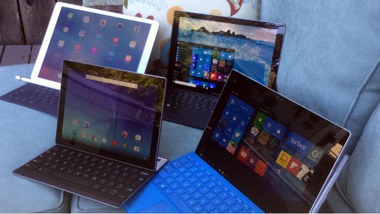 Hybrid-Tablets im Test: Apple iPad Pro, Samsung Galaxy TabPro S, Microsoft Surface Pro 4 und Google Pixel-C (von links im Uhrzeigersinn).