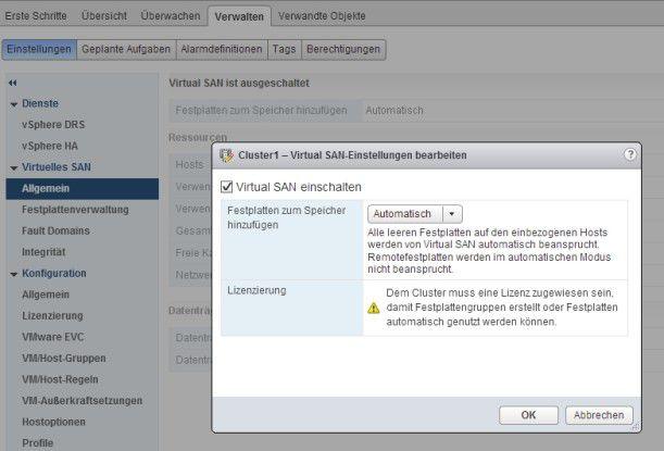 Der lokale Festplattenplatz von Hosts kann unter Microsoft vSpherer zu einem virtuellen System zusammengefasst werden.