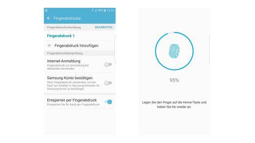 Mit Ihrem Fingerabdruck schützen Sie das Galaxy S7 (Edge) vor unbefugtem Zugriff.
