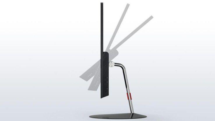 Das Full-HD-Display des ThinkCentre X1 lässt sich im Winkel von -5 bis 45 Grad neigen. Eine Höhenverstellung ist standardmäßig allerdings nicht vorgesehen.