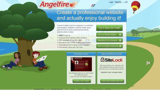 Die Webpräsenz von Angelfire im Jahr 2016.