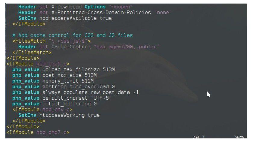 Maximaler Upload: Sie konfigurieren in der Datei .htaccess die maximal akzeptable Größe für hochzuladende Dateien.