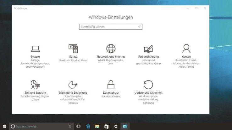 Windows 10 verfügt neben der Systemsteuerung noch über die Anpassungs-App Einstellungen (unten).