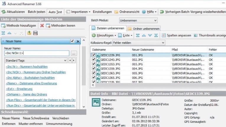 Mit dem Advanced Renamer sparen Sie sich Zeit und Arbeit beim Umbenennen mehrerer Dateien und Bearbeiten der Tags Ihrer Mediendateien.