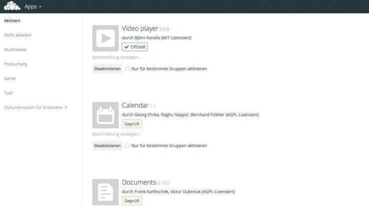 """Office-Dokumente bearbeiten: Unter """"Apps"""" die betreffende Komponente aktivieren."""