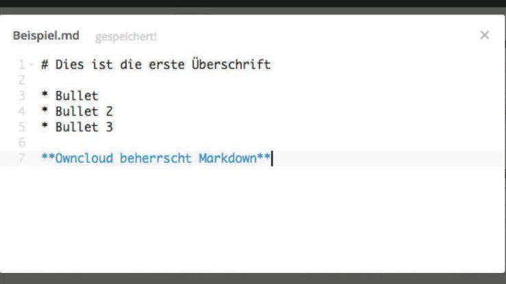 Der integrierte Editor für Textdateien unterstützt auch die Markdown-Syntax.