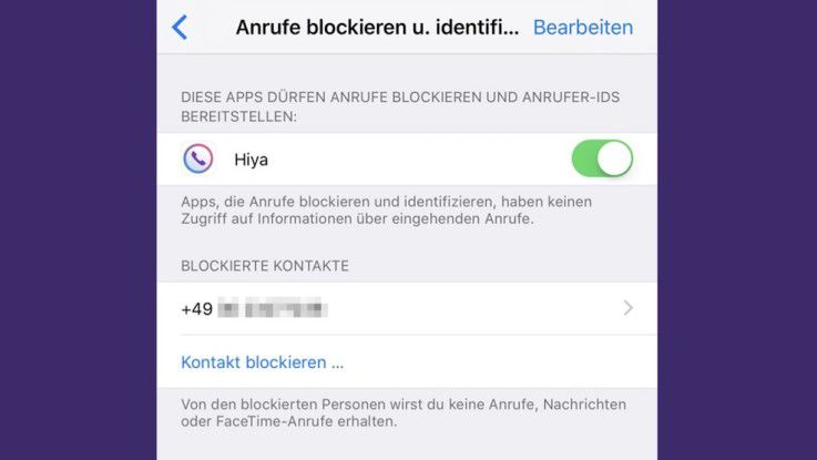 Eine Liste zeigt die blockierten Nummern an.