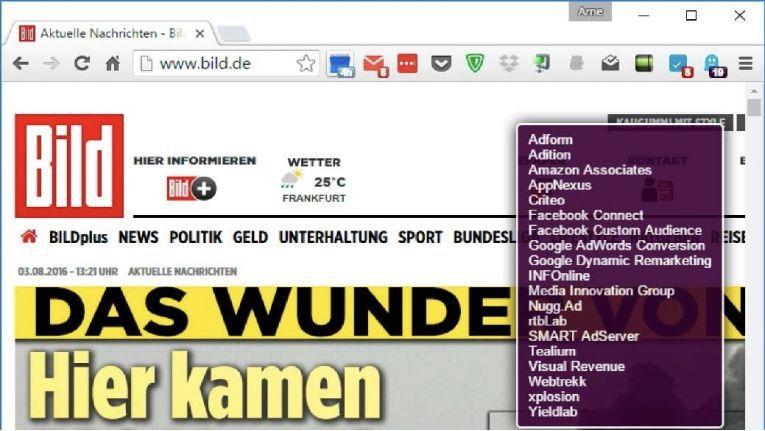 Die Browser-Erweiterung Ghostery für Chrome und Firefox zeigt Ihnen an, welche Cookies die aktuelle Website auf Ihren Rechner schiebt.