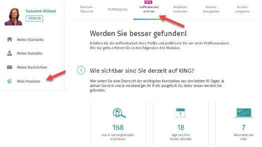 Xing Premium-Funktion: Auffindbarkeit erhöhen