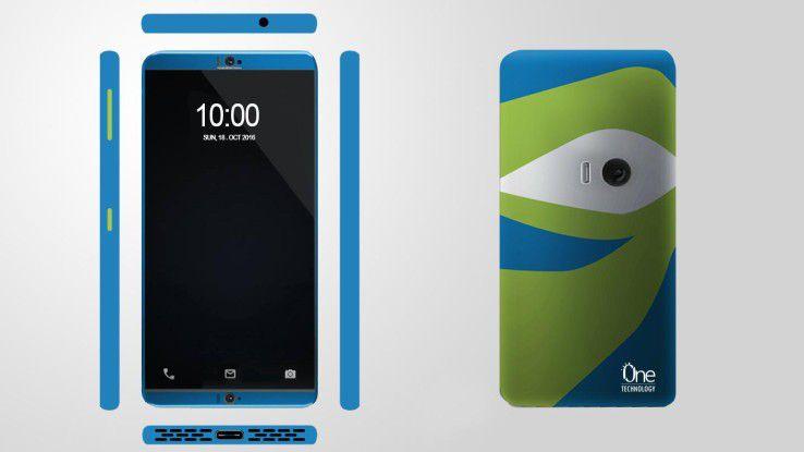 Eine selbstklebende Rückseite ermöglicht es, das Smartphone an eine Wand zu heften.