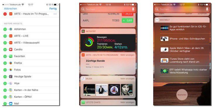 Apps, die Widgets anbieten, tauschen automatisch in der Widget-Verwaltung an. Mit einem Tipp auf das grüne Plus fügen Sie das Widget hinzu. Auch die App der Macwelt bietet selbstverständlich ein Widget.