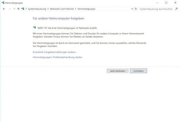"""Um ein Windows-Gerät zu einer Heimnetzgruppe hinzuzufügen, müssen Sie mit """"Jetzt beitreten"""" bestätigen. Heimnetzgruppen können auch wieder verlassen werden."""