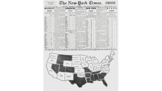 Titelseite der New York Times (NYT) mit einer Kartendarstellung der Wahlergebnisse im Jahr 1896.