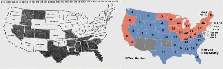 Die Karte der Wahlergebnisse und die tatsächlichen Ergebnisse im Vergleich.