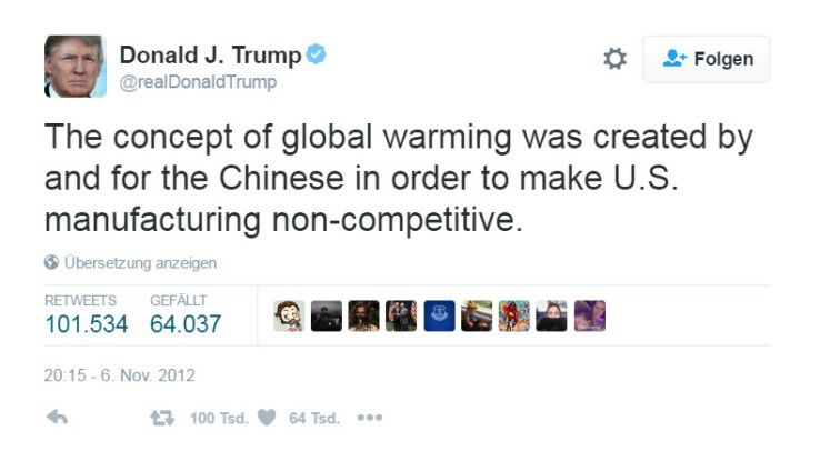Einfache Botschaften sind Trumps Spezialität. Auf Twitter schrieb er, die globale Erwärmung sei eine Erfindung der Chinesen, die der US-Industrie schaden wollten.