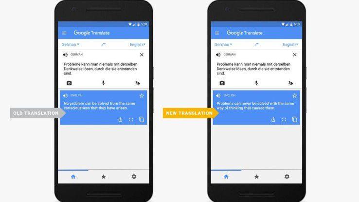 Google Translate mit neuer und alter Übersetzung.