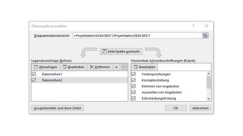 Im Fenster Datenquelle auswählen, das Sie über Entwurf erreichen, teilen Sie Excel die benötigten Zahlen- und Datumswerte mit.